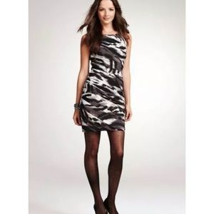 Ann Taylor Dress Sheath Animal Print Black Ruched